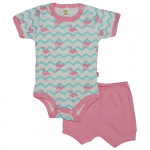 Conjunto de Body Bebê Baby Duck Manga Curta Estampado - Ave Chevron